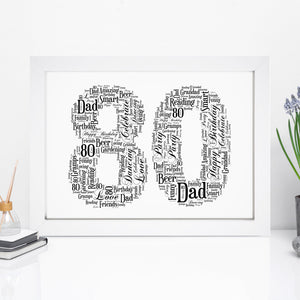 Personalised 80 Word Art Print