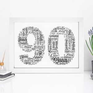 Personalised 90 Word Art Print