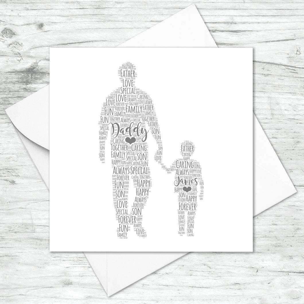 Personalised Father Son Word Art Card