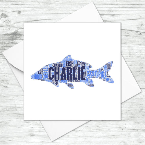 Personalised Carp Fish Word Art Card