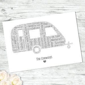 Personalised Caravan Word Art Print
