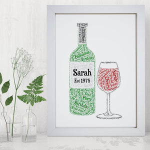 Personalised Wine Lovers Bottle Glass Word Art Print Gift