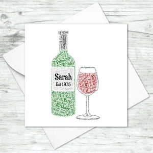 Personalised Wine Lovers Bottle Glass Word Art Card