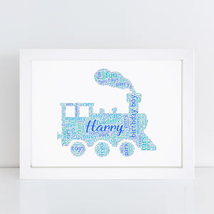 Personalised Train Word Art Print