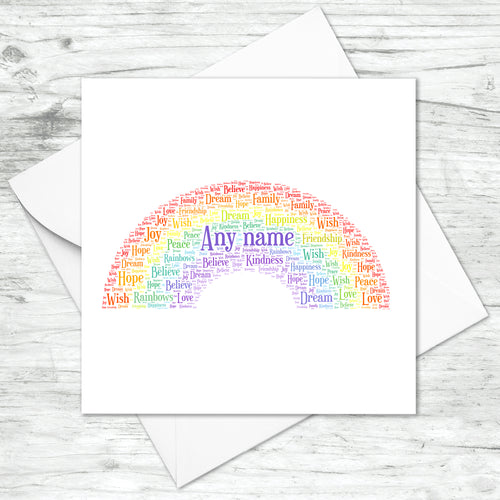 Personalised Rainbow Word Art Card