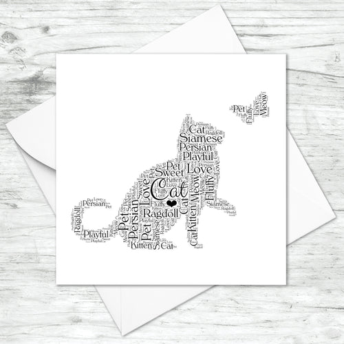 Personalised Cat Word Art Card