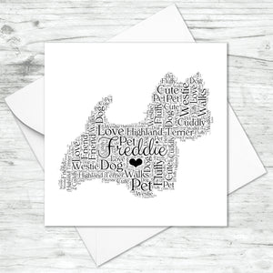Personalised West Highland Terrier Word Art Card