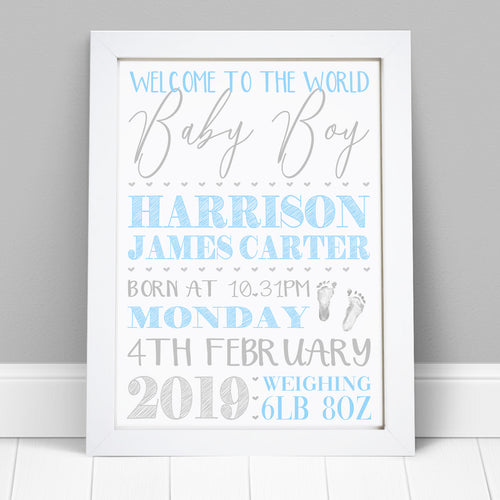 Personalised Baby Birth Details Print