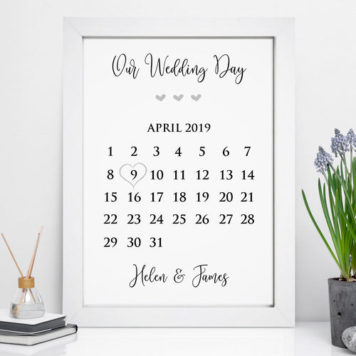 Personalised Our Wedding Date Calendar Print