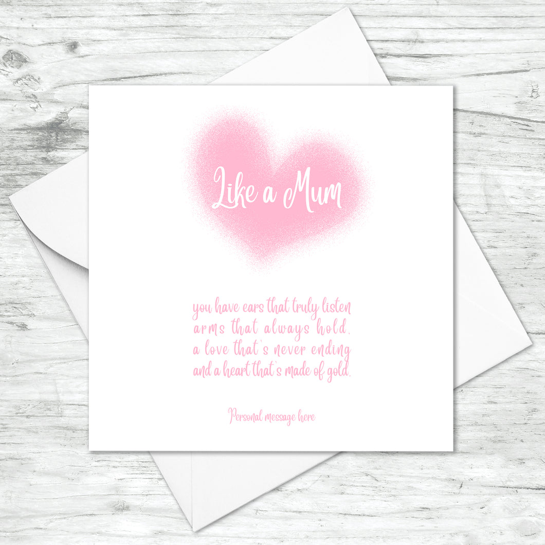 Personalised Like A Mum Mummy Heart Card
