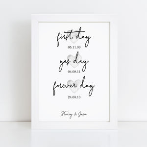 Personalised First Day Yes Day Forever Day Print