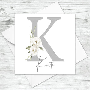 Personalised Grey Floral Initial Card