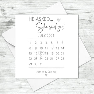 Personalised He Asked She Said Yes Card