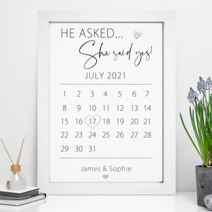 Personalised Engagement Date Calendar Print