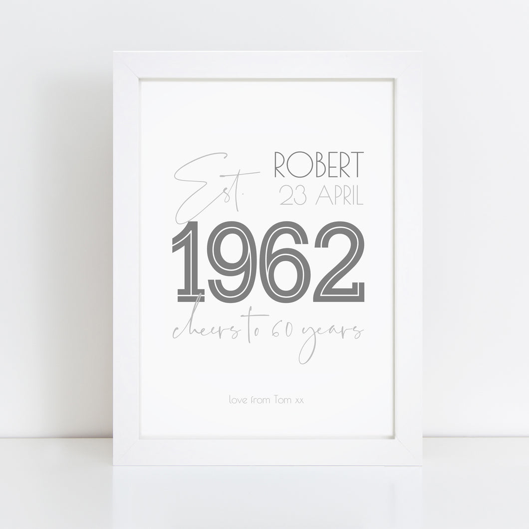 Personalised 60th Birthday Year Print