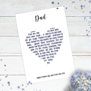 Personalised Dad Heart Poem Print