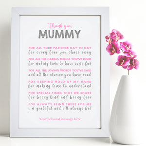 Personalised Thank You Mummy Poem Print