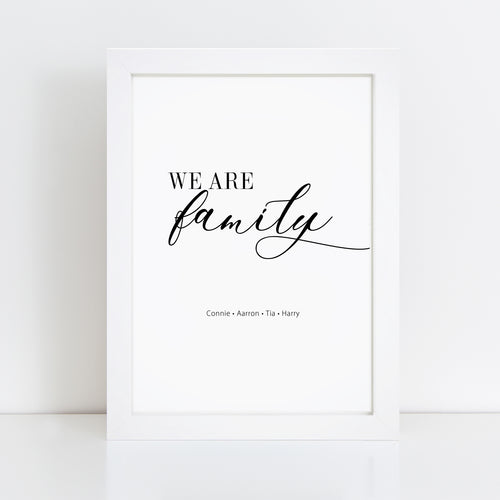 Personalised We Are Family Wall Art Print
