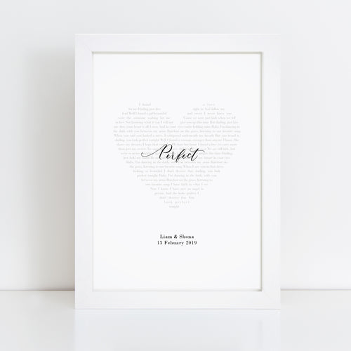 Personalised Heart Our Song Lyrics Print