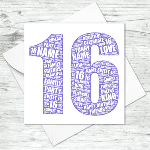 Personalised 16th Birthday Word Art Card
