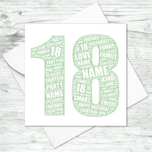 Personalised 18th Birthday Word Art Print