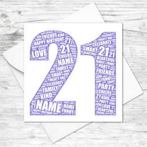 Personalised 21st Birthday Word Art Print