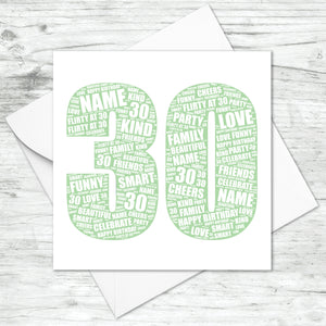 Personalised 30th Birthday Word Art Print