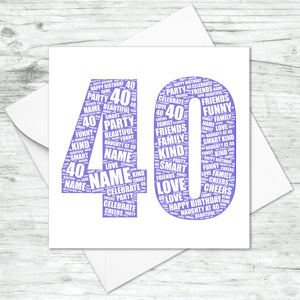 Personalised 40th Birthday Word Art Print
