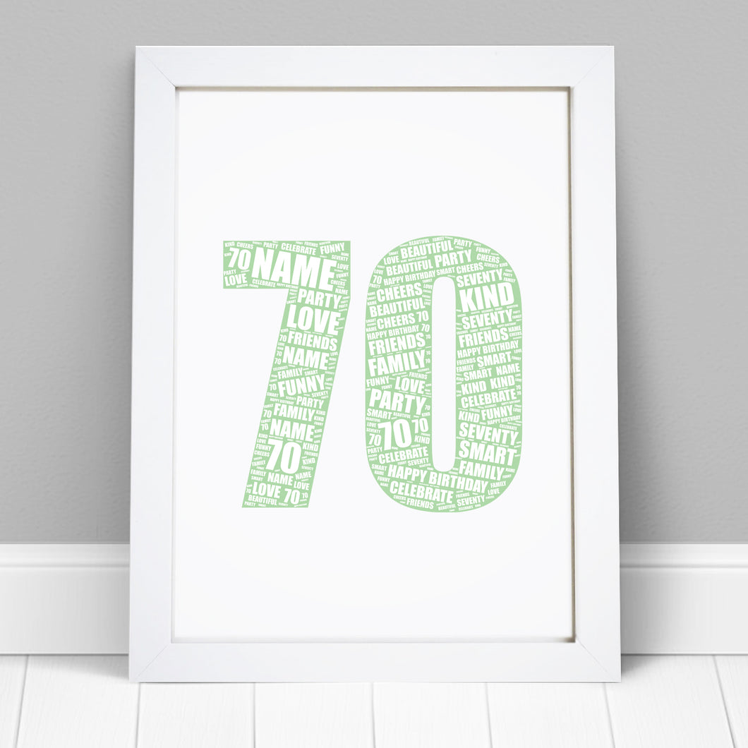 Personalised 70th Birthday Word Art Print