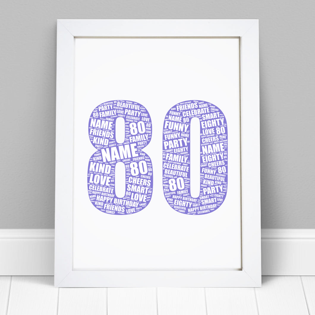 Personalised 80th Birthday Word Art Print