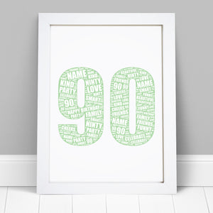 Personalised 90th Birthday Word Art Print