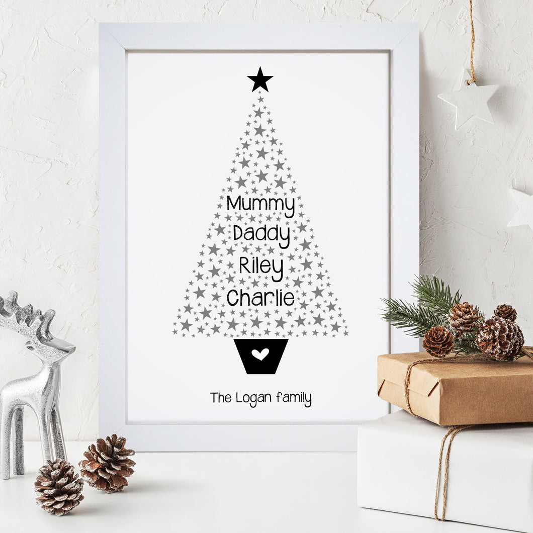 Personalised Christmas Tree Word Art Print