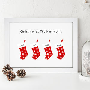 Personalised Christmas Stocking Family Print