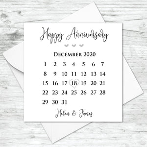 Personalised Anniversary Calendar Card