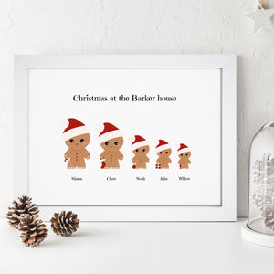 Personalised Gingerbread Family Print