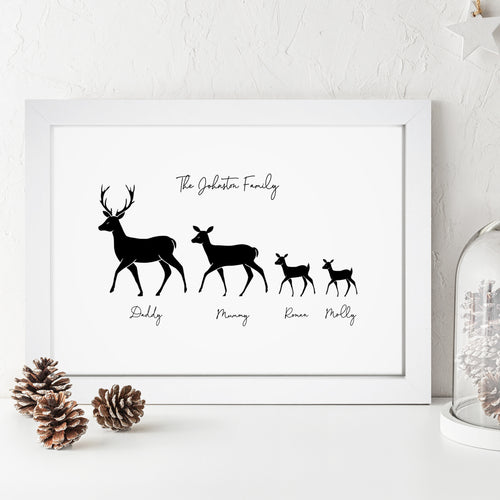 Personalised Deer Family Print