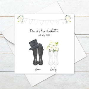 Personalised Welly Boot Wedding Card