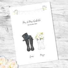 Personalised Bride And Groom Welly Print