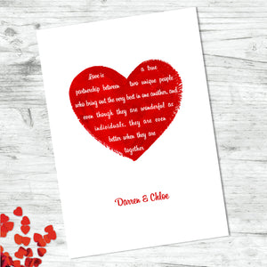 Personalised Love Heart Quote Print
