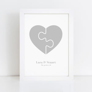 Personalised Heart Puzzle Print