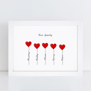 Personalised Family Heart Print