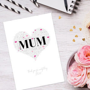 Personalised Mum Word Art Print