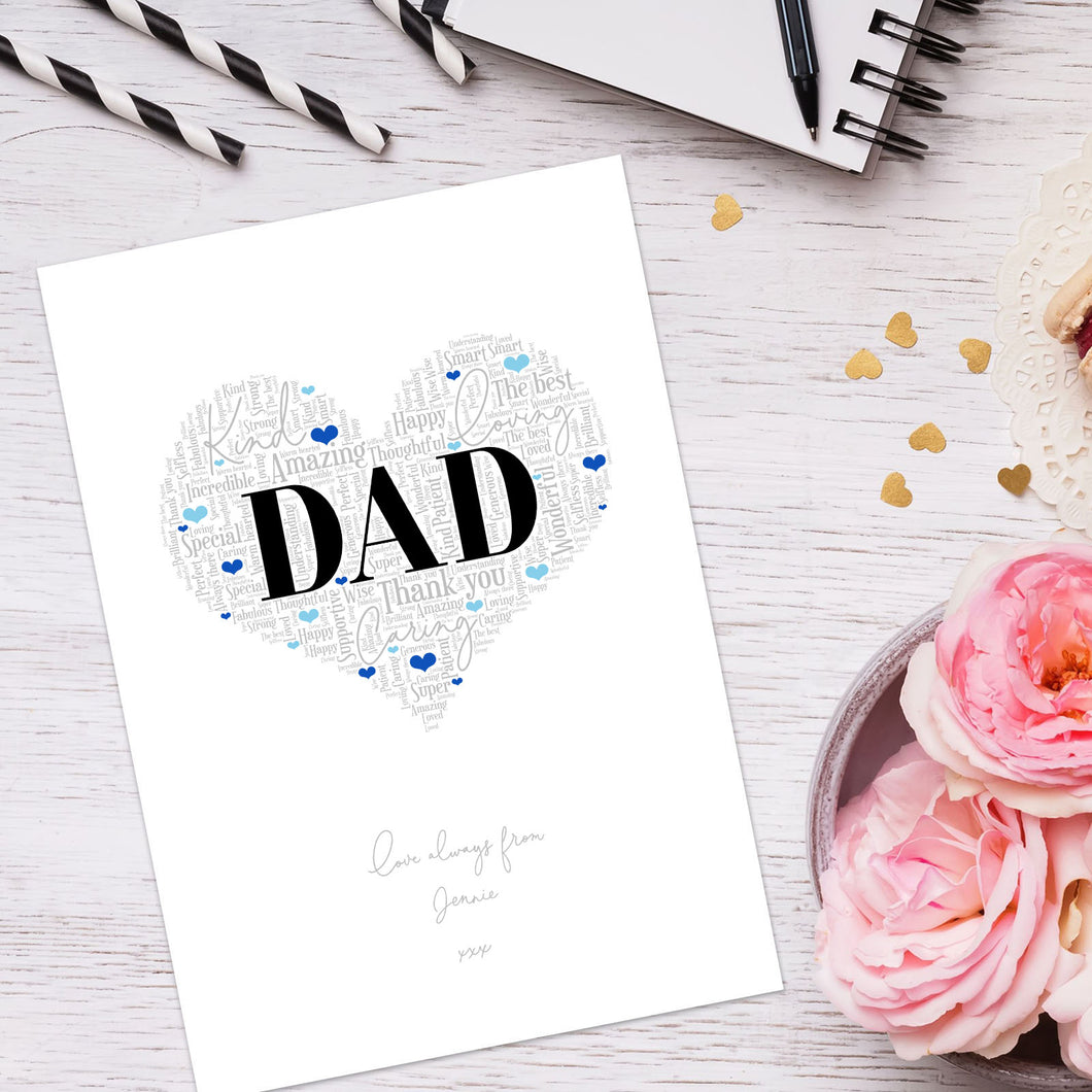 Personalised Dad Word Art Print