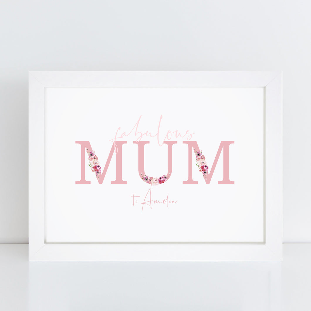 Personalised Fabulous MUM Print
