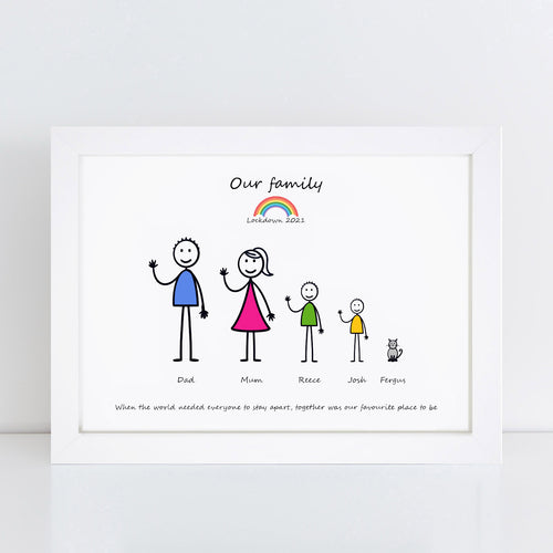 Personalised Lockdown My Stick Family Print