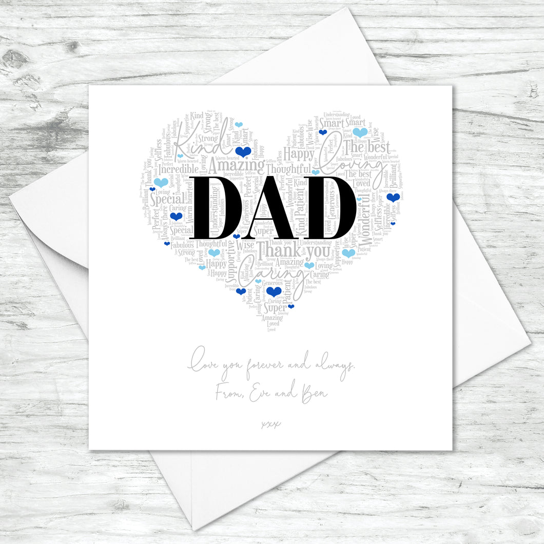 Personalised Dad Word Art Card