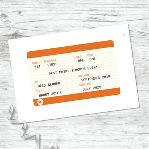 Personalised Train Ticket Print - Teacher Gift