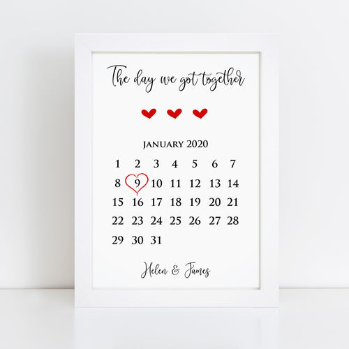 Personalised The Day We Got Together Print