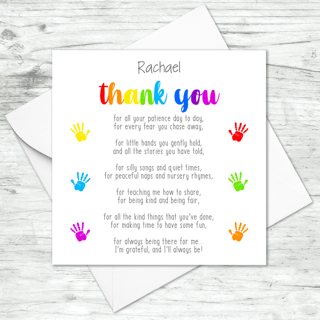 Personalised Thank You Poem Card