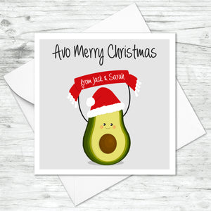 Personalised Avocado Christmas Card